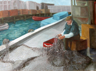painting of fisherman on fisherman's wharf
