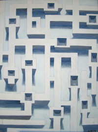 abstract painting of a maze