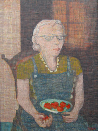 painting of grandmother capping strawberries