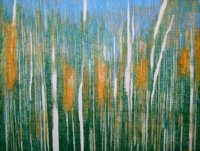 painting of grasses in setting light